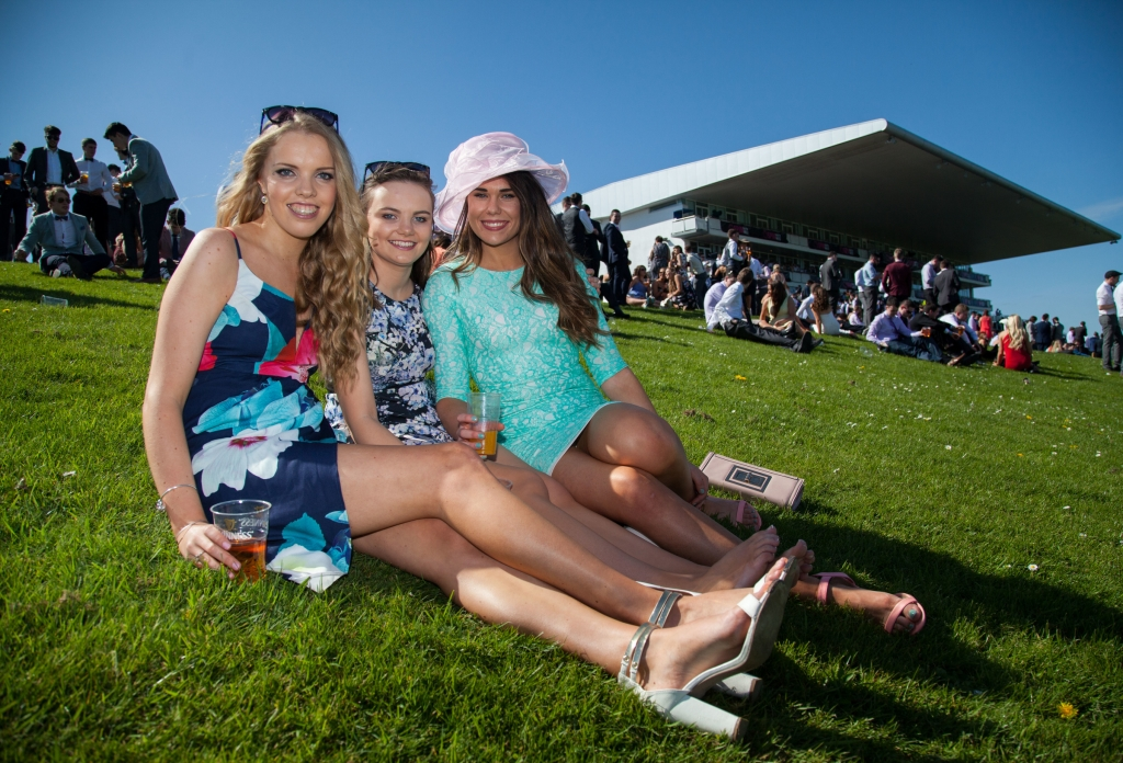 16/04/2015         A festival like atmosphere at Limerick Racecourse on day two of the Spin Southwest Student raceday. The all ticket event sold out in two days with 6,000 students enjoying this national  event at Greenmount Park. Attending the event in the sun were Mary Immaculate College Limerick students, Ellen O'Flynn, Sarah Grace and Ellen Martin. Picture: Alan Place.