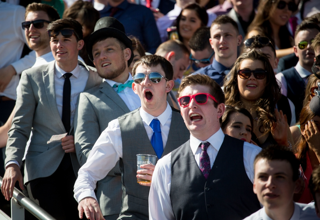 16/04/2015         A festival like atmosphere at Limerick Racecourse on day two of the Spin Southwest Student raceday. The all ticket event sold out in two days with 6,000 students enjoying this national  event at Greenmount Park. Enjoying the action at the event were,  Jack Bushe, UL, Dan McEoin, Mary Immaculate College, Kevin Broderick, Mary Immaculate College Limerick and Kevin Barry, Mary Immaculate College Limerick. Picture: Alan Place.