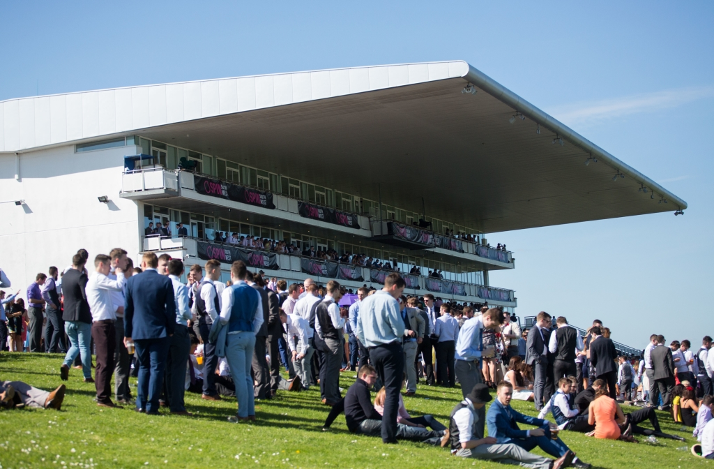 16/04/2015         A festival like atmosphere at Limerick Racecourse on day two of the Spin Southwest Student raceday. The all ticket event sold out in two days with 6,000 students enjoying this national  event at Greenmount Park. Picture: Alan Place.