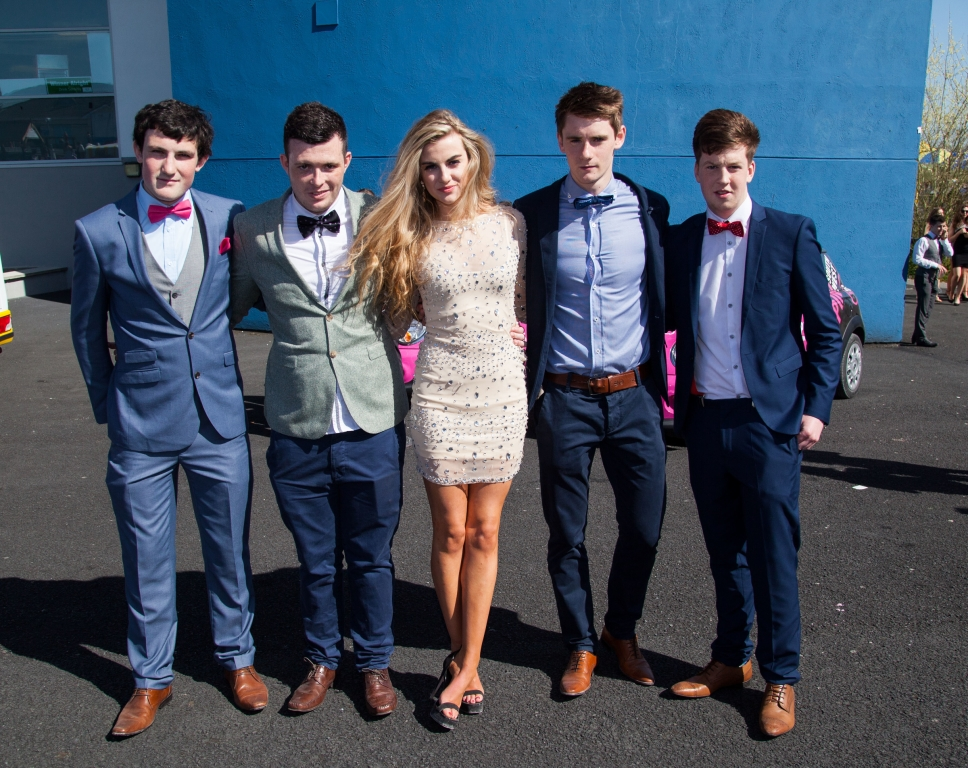 16/04/2015         A festival like atmosphere at Limerick Racecourse on day two of the Spin Southwest Student raceday. The all ticket event sold out in two days with 6,000 students enjoying this national  event at Greenmount Park. Attending the event in the sun were UL students, David Kelly, Cheese McMahon, Naoise McCormack, Keelan Brennan and Emmett Nolan. Picture: Alan Place.