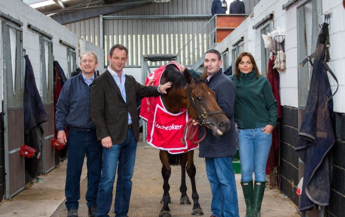 Charles Byrnes, Justin Carthy, Conor O Neill and Hayley O Connor with Shanpallas launching the 2015 Ladbrokes Munster National